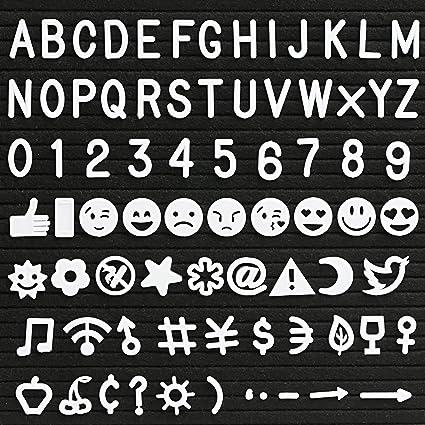 Kesote Letras de Plástico para Pizarra de Fieltro - 190 Piezas de Números, Símbolos, Alfabetos y Emoji para Pizarra Editable