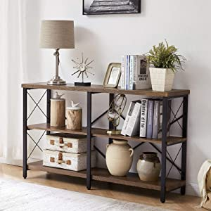 OIAHOMY Industrial Sofa Table,Console Table,3-Tier Industrial Rustic Hallway/Entryway Table,Easy Assembly,for Entryway, Living Room (French Oak Brown)
