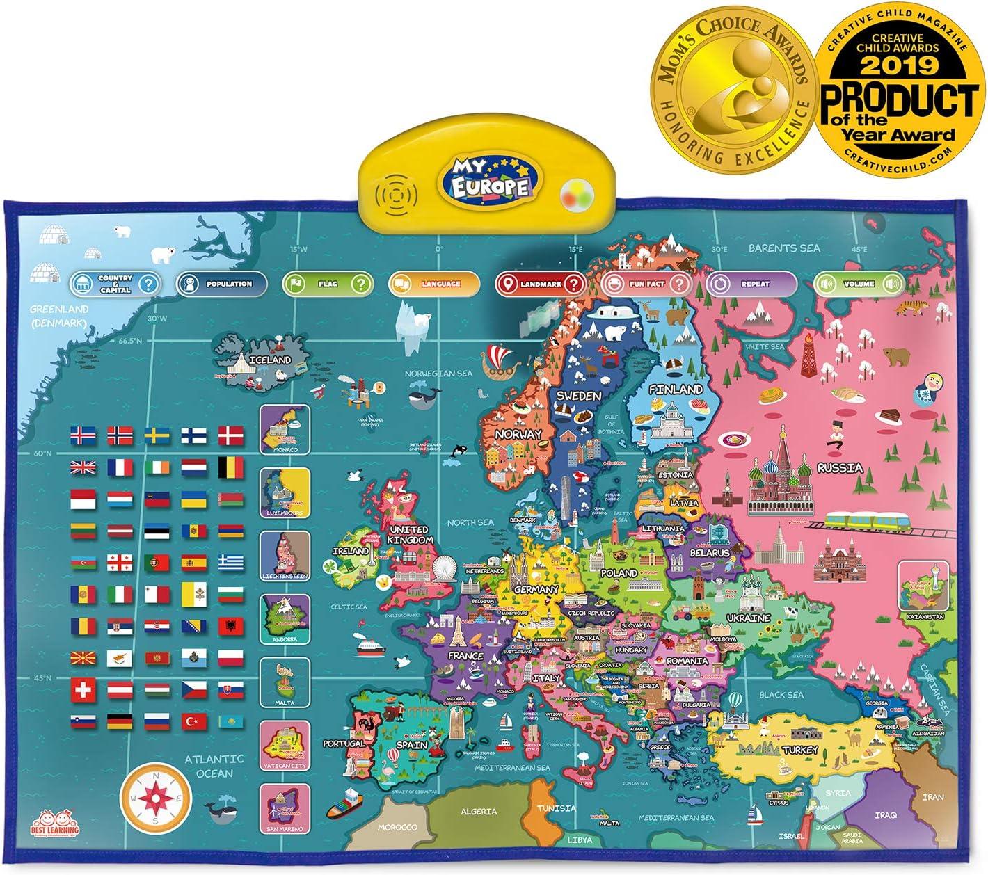 BEST LEARNING i-Poster mi Mapa Interactivo de Europa - Juguete Educativo parlante para niños y niñas de 5 a 12 años de Edad (Versión en inglés): Amazon.es: Juguetes y juegos