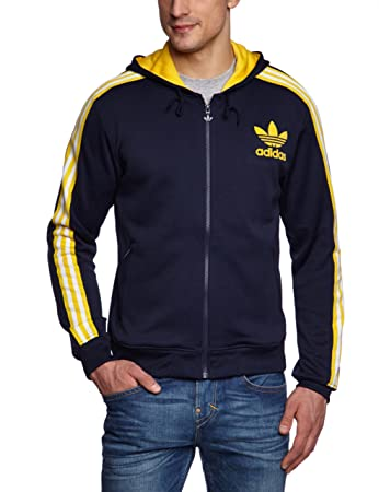41ed7bfbeb4d64 adidas Hooded Flock Men s Hooded Track Top blue legend ink s10 sunshine  Size L