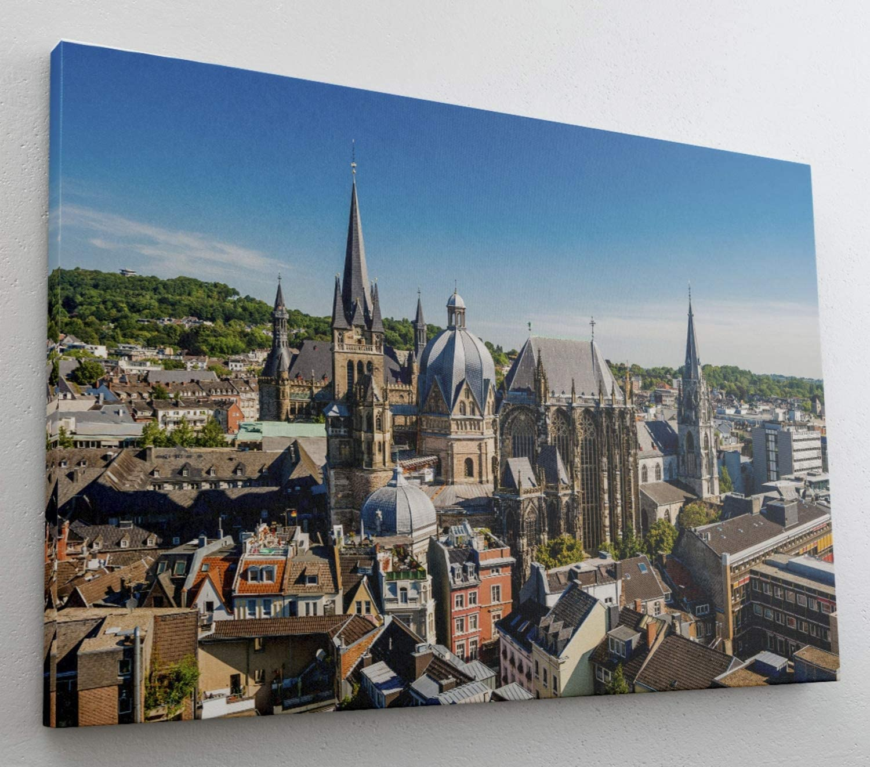 Aachen Skyline Dom Leinwand Canvas Bild Wandbild Kunstdruck L1448 Gr/ö/ße 70 cm x 50 cm