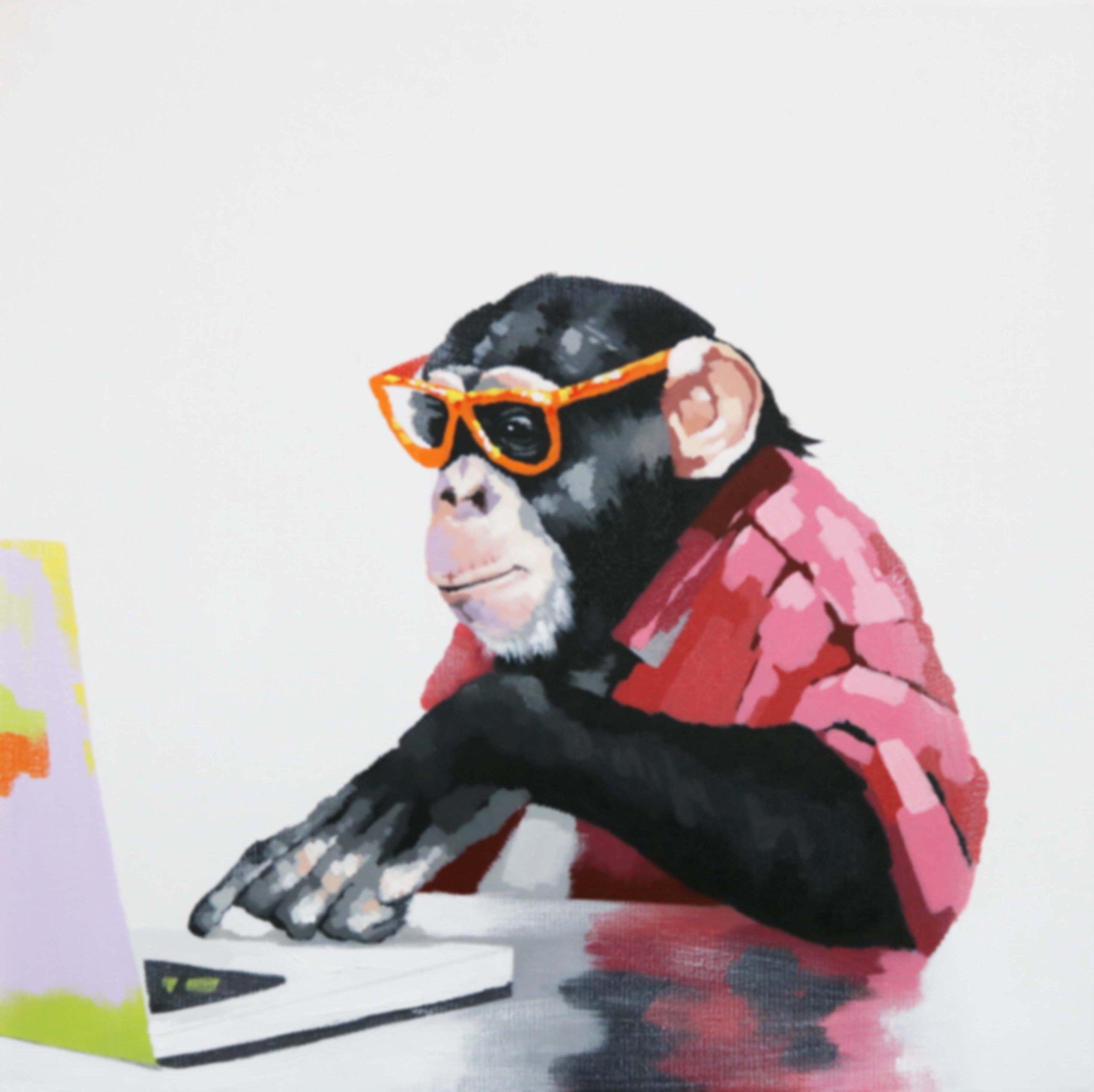 Bignut Art 100 Hand Painted Animal Computer Gorilla