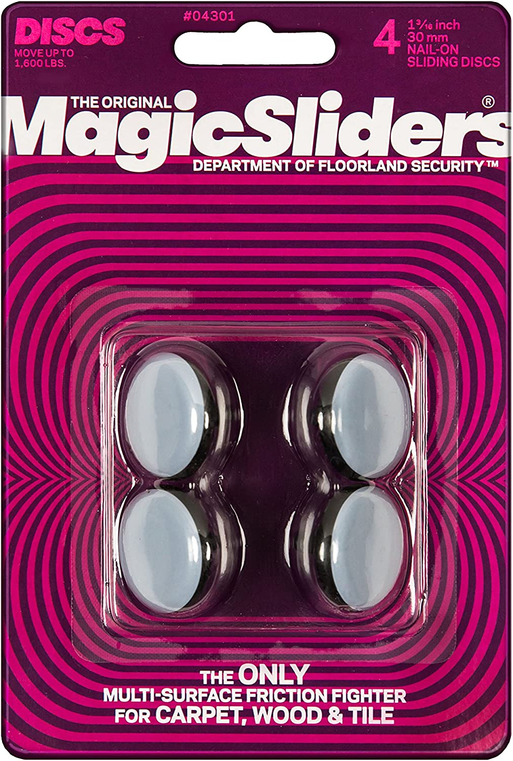 Magic Sliders 04301 1-3/16-Inch Furniture Glide Round Nail On Sliding Disc 4 count
