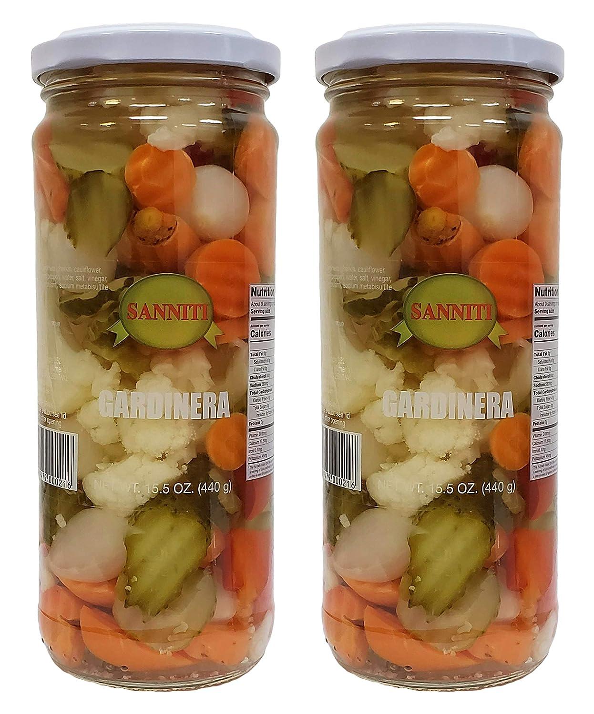 Sanniti Imported Mild Giardiniera in Vinegar and Salt Brine, 15.5 oz (Pack of 2)