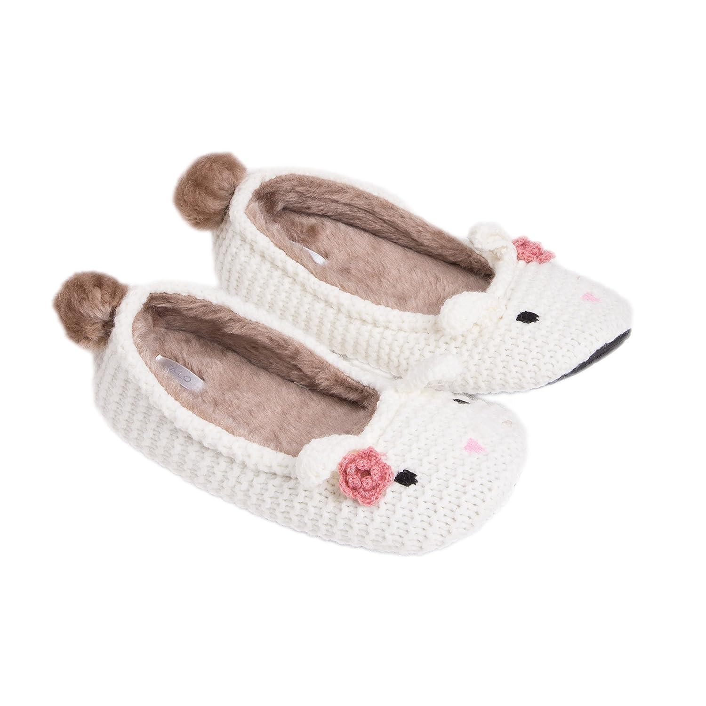 Summer Mae Pantofola Peluche Invernale Animale Donna Bianca