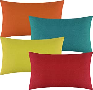 Aneco Pack of 4 Outdoor Waterproof Throw Pillow Covers Decorative Garden Cushion Cases Square Pillowcases for Patio, Couch, Tent, Balcony and Sofa, 12 x 20 Inches, Yellow, Red, Orange, Blue-Green
