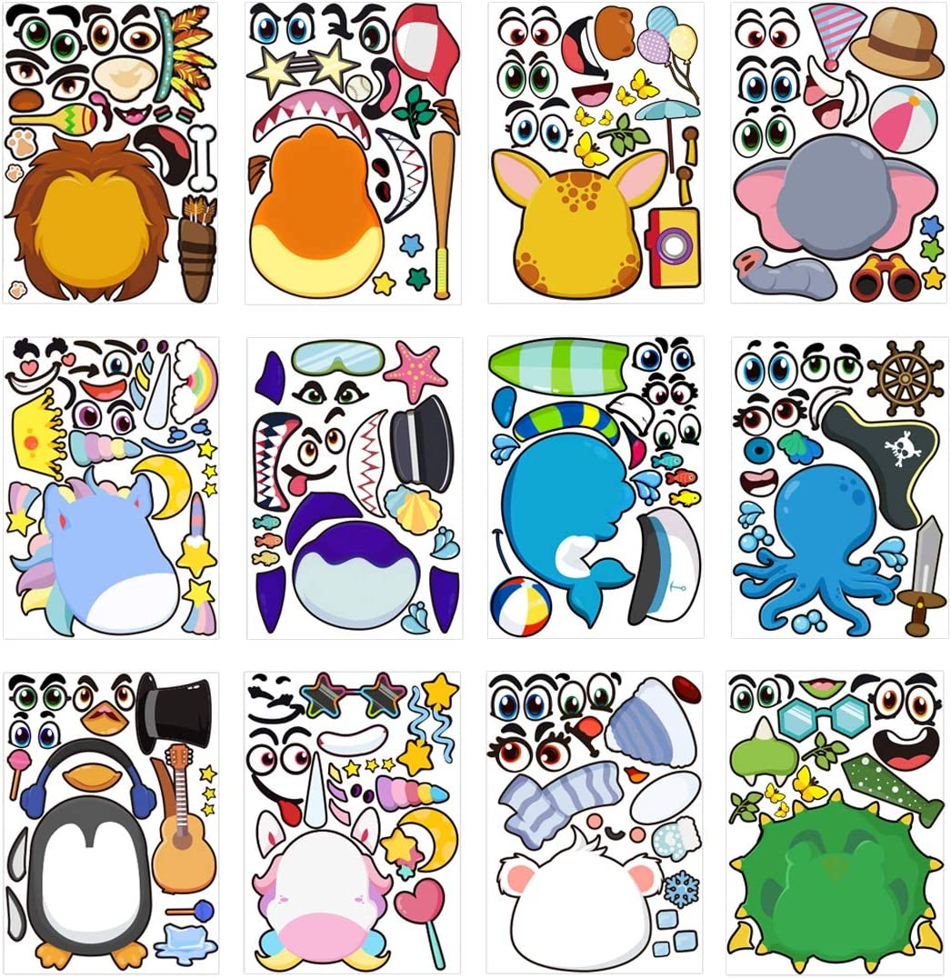 Make-a-face Animal Mix and Match Sticker Sheets with Safaris Sea Fantasy Animals for Kids Easter Party Favors Birthday Game Party Supplies 36 Pack Make Your Own Stickers for Kids