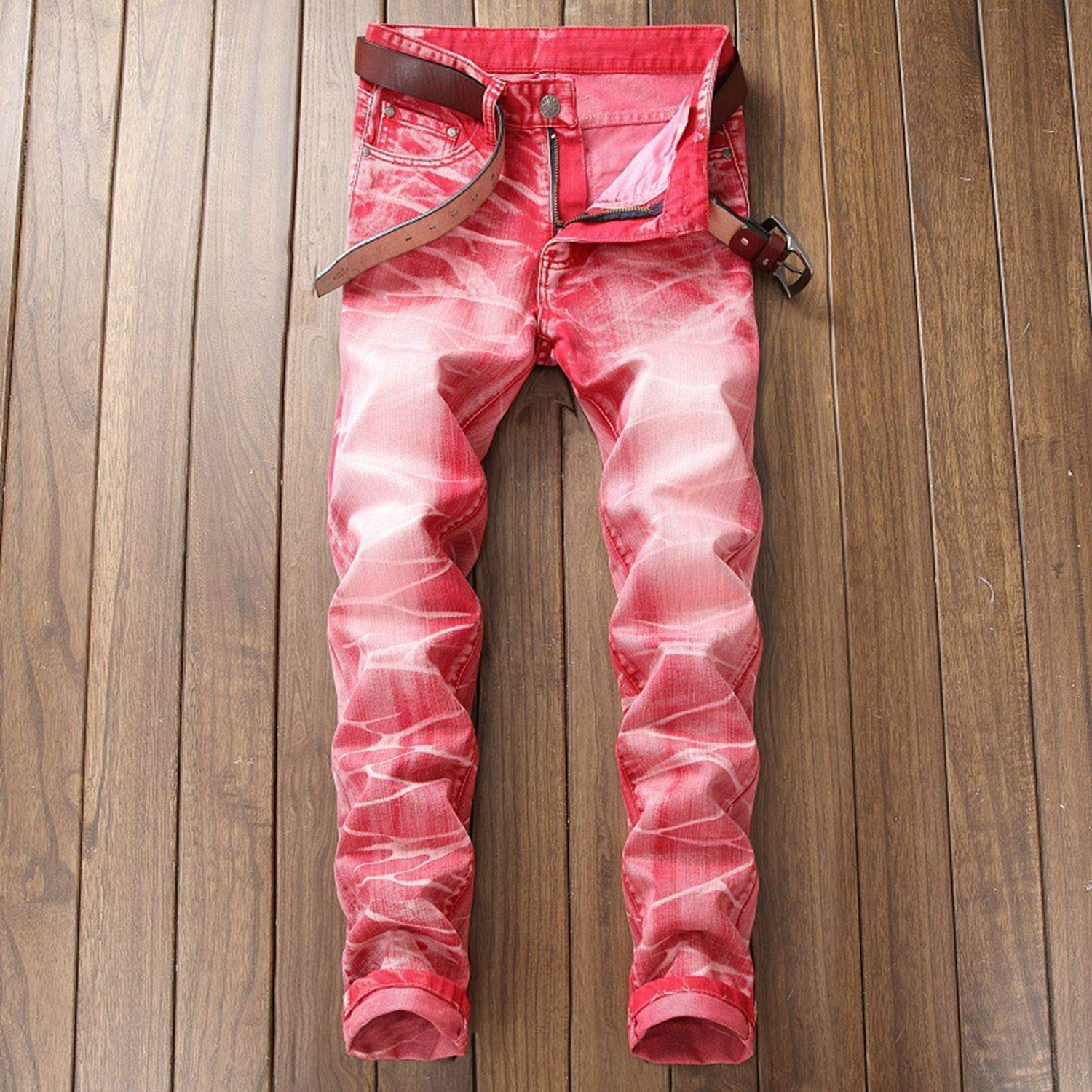 Dropshipping Retro Mens Jeans Washed Slim Skinny Biker Classic Casual Denim Male Red Gray Trousers
