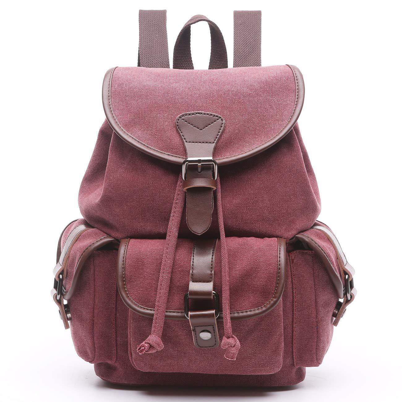 Women Canvas Backpack Purse Vintage Travel Rucksack for Teenager Girls College School Cute Slim Denim Fashion Daypack Bag (Purplish red-Small)