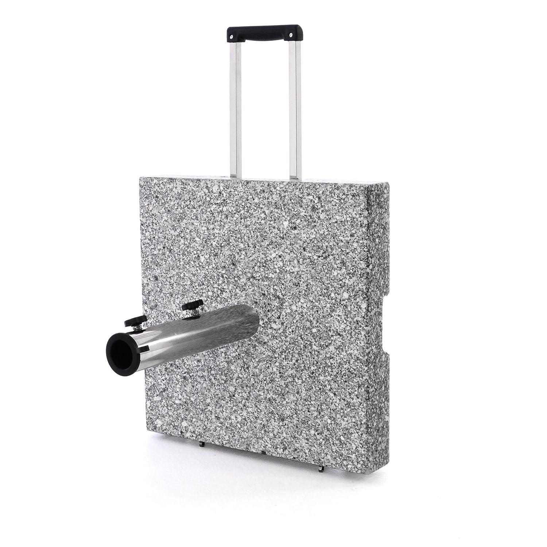 Nexos Sonnenschirmständer Granit Grau eckig mit Trolley-Griff, Rollen, Reduzierhülsen, Edelstahlrohr poliert 45 x 45 cm 40 kg. Für Schirme bis 3 m