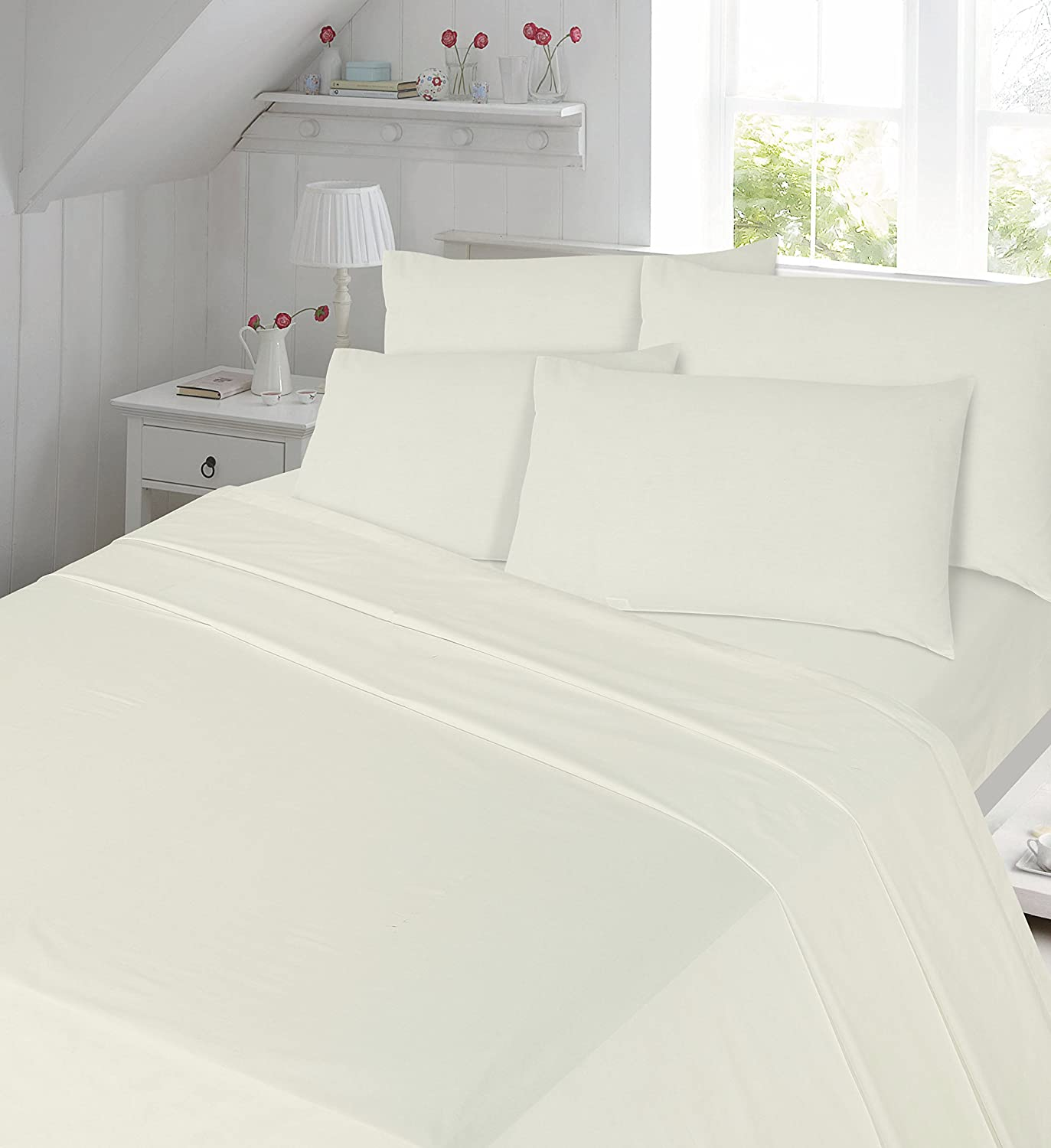 Luxury Soft 100% Brushed Cotton Flannelette Flat Sheet Single Double And King Sizes (Double, Cream) Baig trading ltd