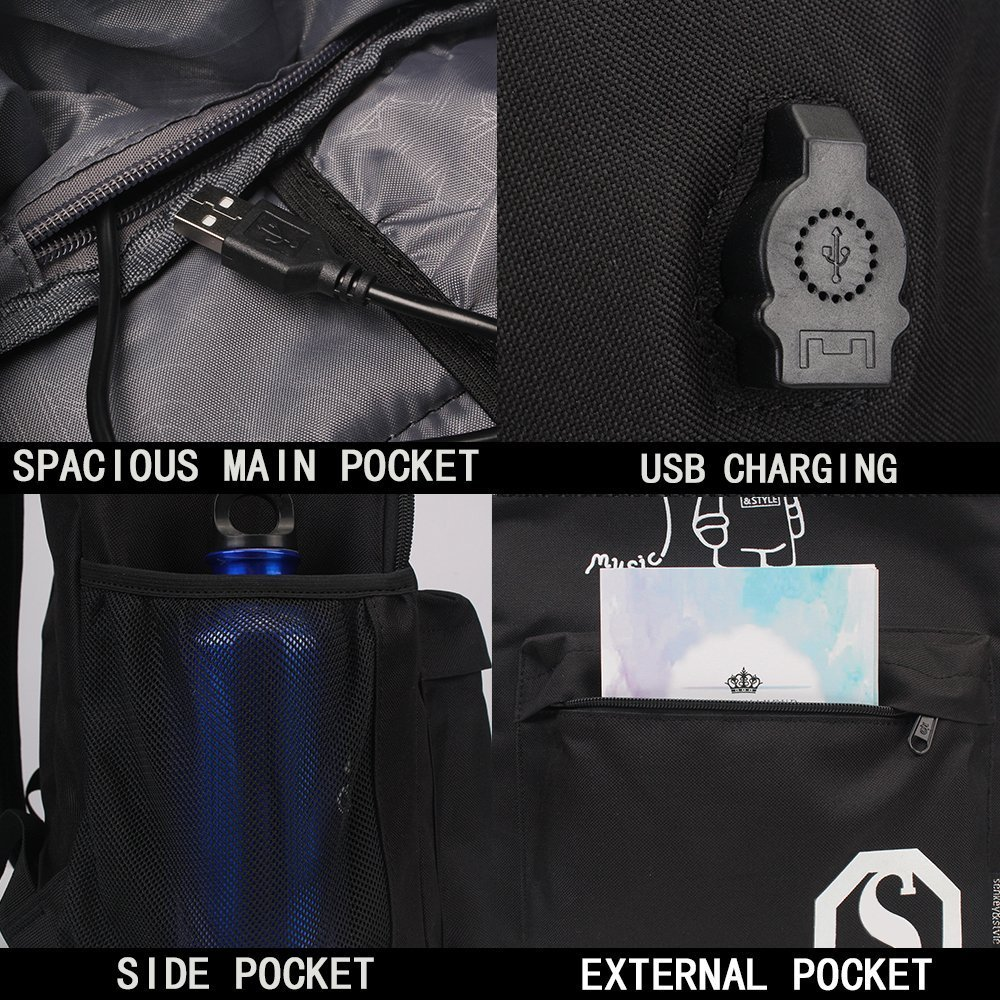 YYCB Anime Luminous Black Backpack Noctilucent School Bags Daypack USB chargeing port Laptop Bag Handbag For Girls Boys Men Women by YYCB (Image #6)