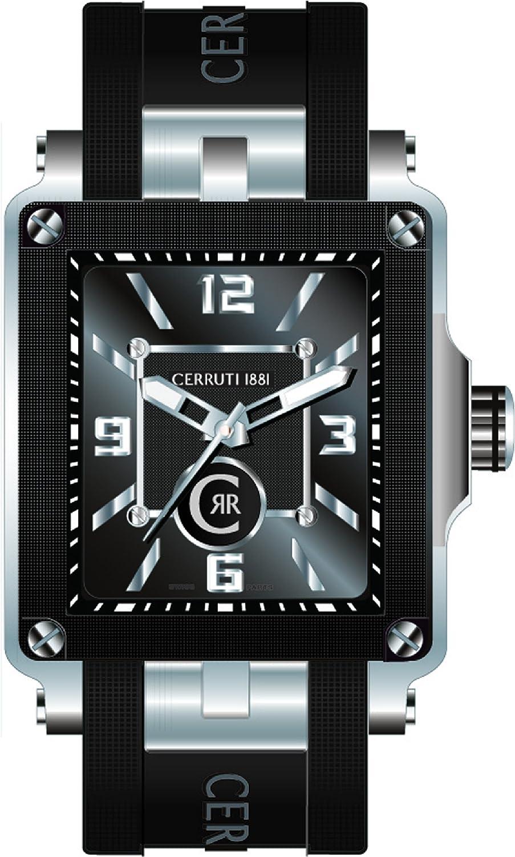 Cerruti 1881 Odissea Mini CRB019E224B - Reloj de Caballero de Cuarzo, Correa de Silicona Color Negro