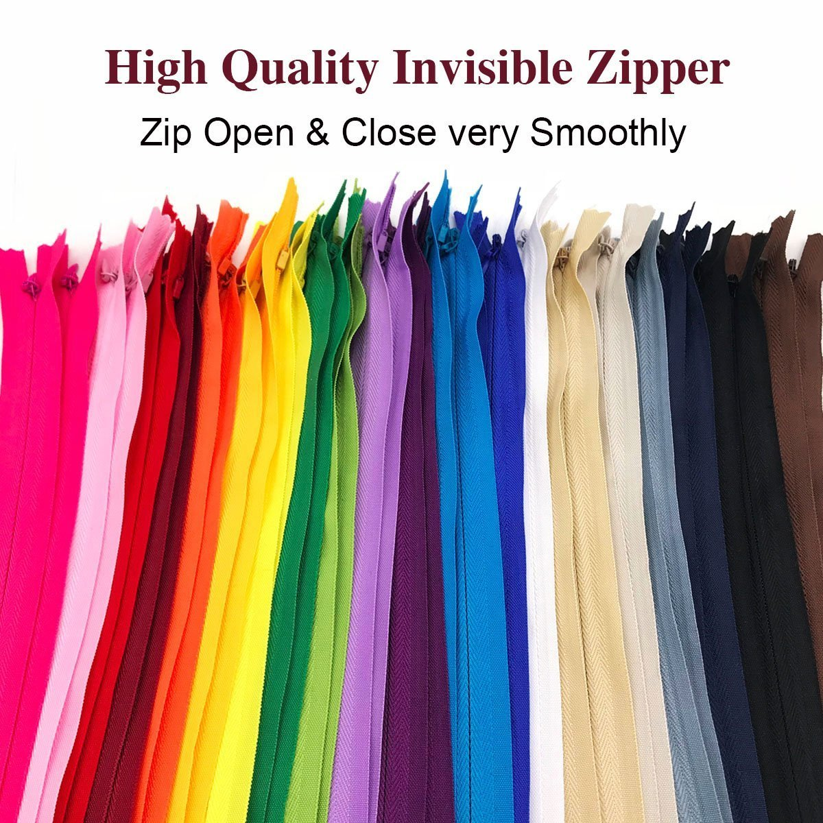 22 inch,White 20PCS Nylon Invisible Zipper,Sewing for Handmade Garment//Bags//Home Textile,Tailor Sewer Crafters Special