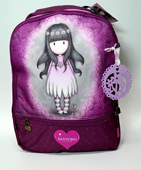 Santoro London Gorjuss - Mochila escolar con varios bolsillos, color morado