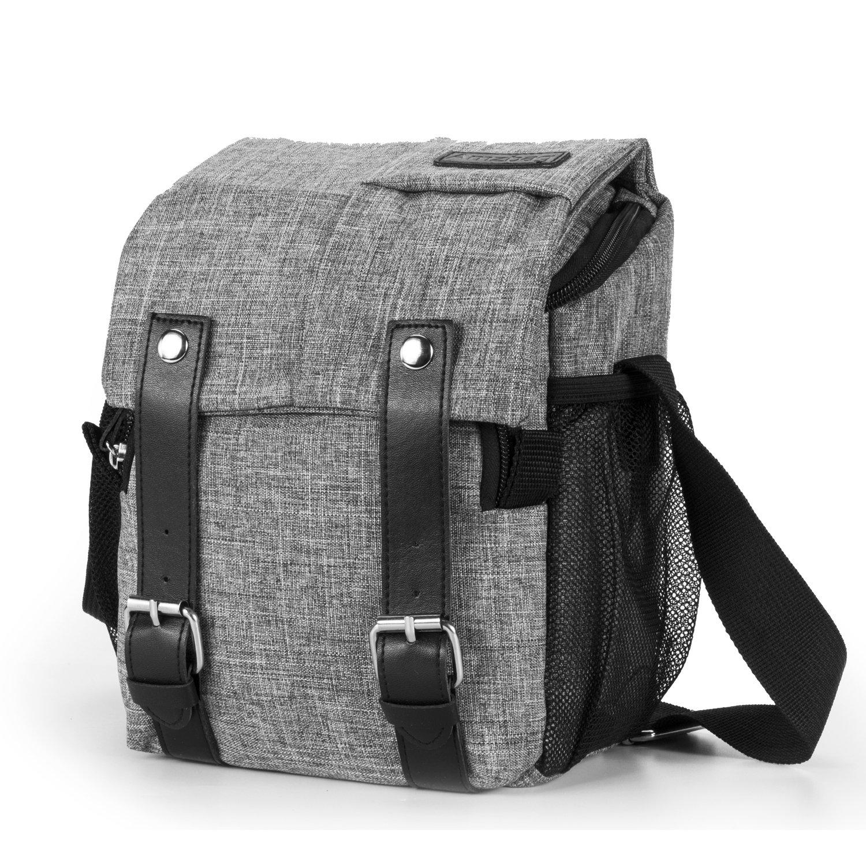Amzbag Camera Bag DSLR Camera Messenger Bag Case With Shoulder Strap Carrying Shoulder Bag for Four Third, Hybrid, and High Zoom, Mirrorless Camera and Instax Instant Camera (Grey)