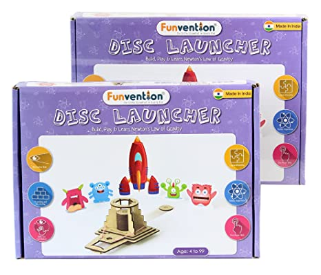 Funvention (Pack of 2) Disc Launcher - DIY Science Educational Toy - STEM  Learning Kit - Learn Newtons Law of Gravity with Fun Do It Yourself