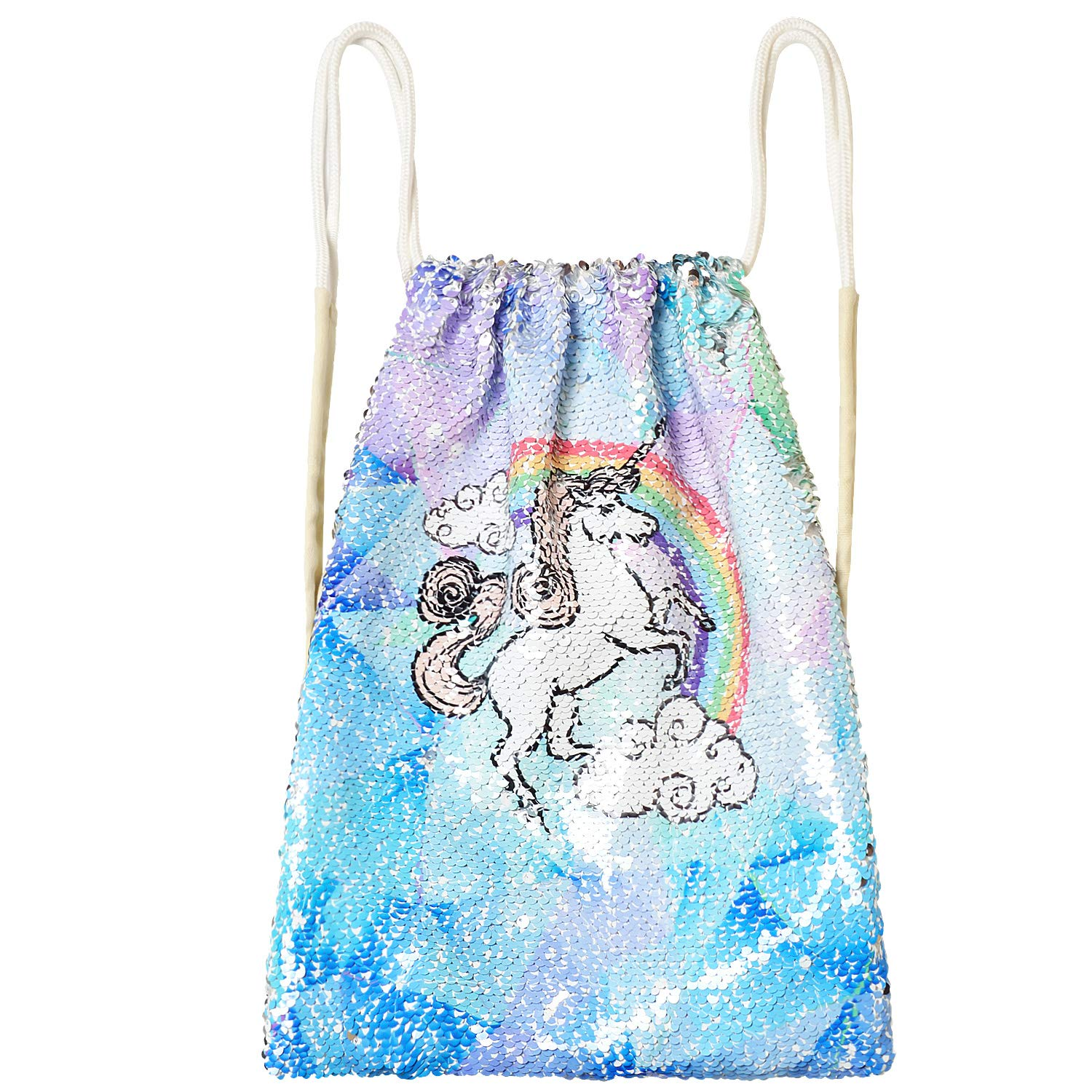 Unicorn Sequin Bag Drawstring Backpack Dancing Beach Hiking Glitter Bags