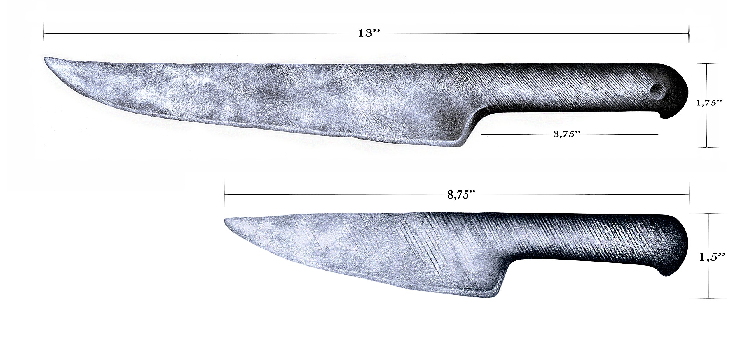 Forged in Fire from Steel File : Nude Knife Set : Cave Man Collection - Natural Shape Fixed Handle Knives. Specialty Carbon Steel Knives for Hunters to Process Carcass, Bushcrafting, Camp Chores by Agile (Image #5)