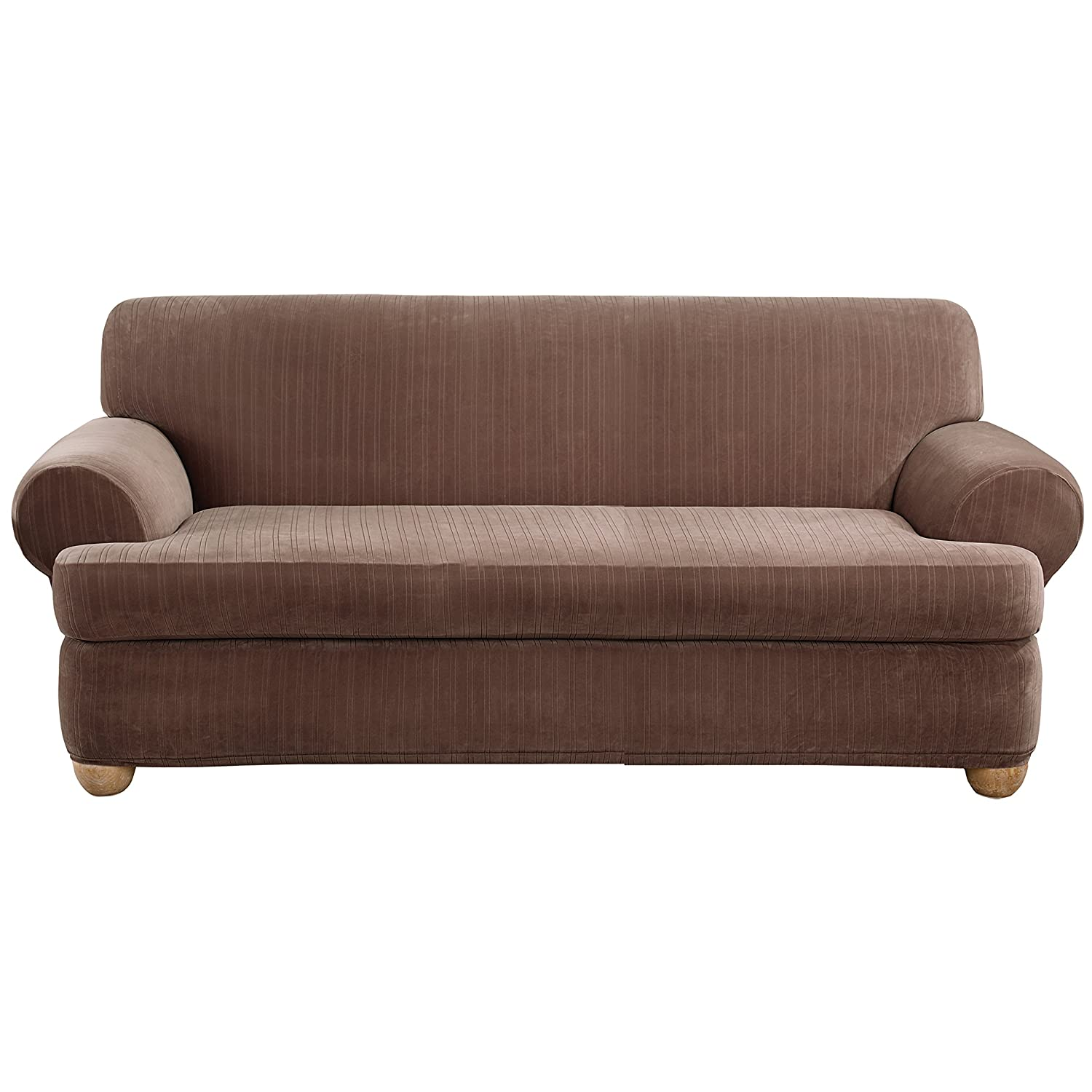 Amazon Sure Fit Stretch Pinstripe 2 Piece Sofa Slipcover