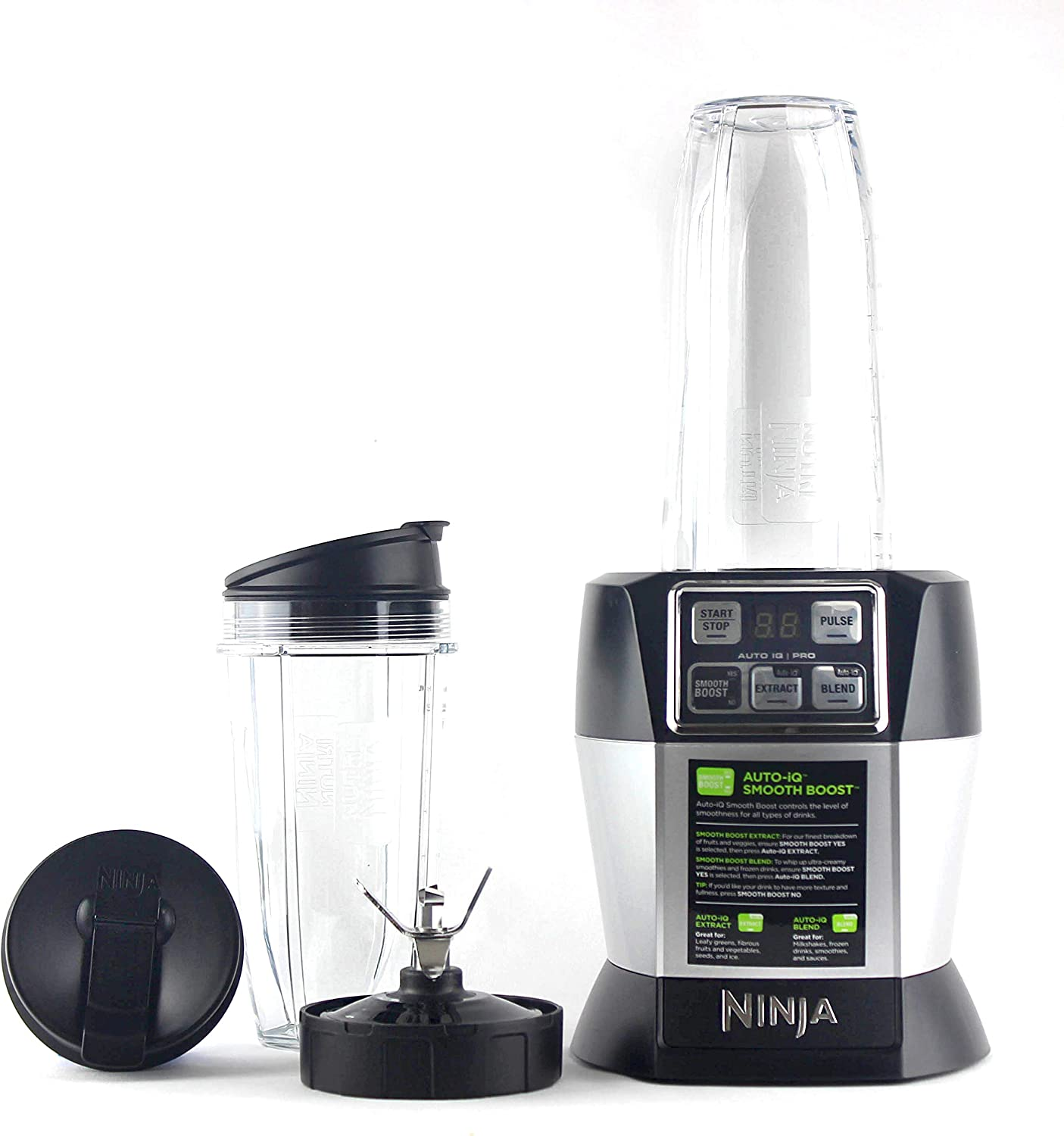 Nutri Ninja BL487T Personal Blender Auto-IQ Pro 1100-Watt (1) 24oz and (1) 32oz Tritan Ninja Cup With Sip & Seal Lids (Renewed)