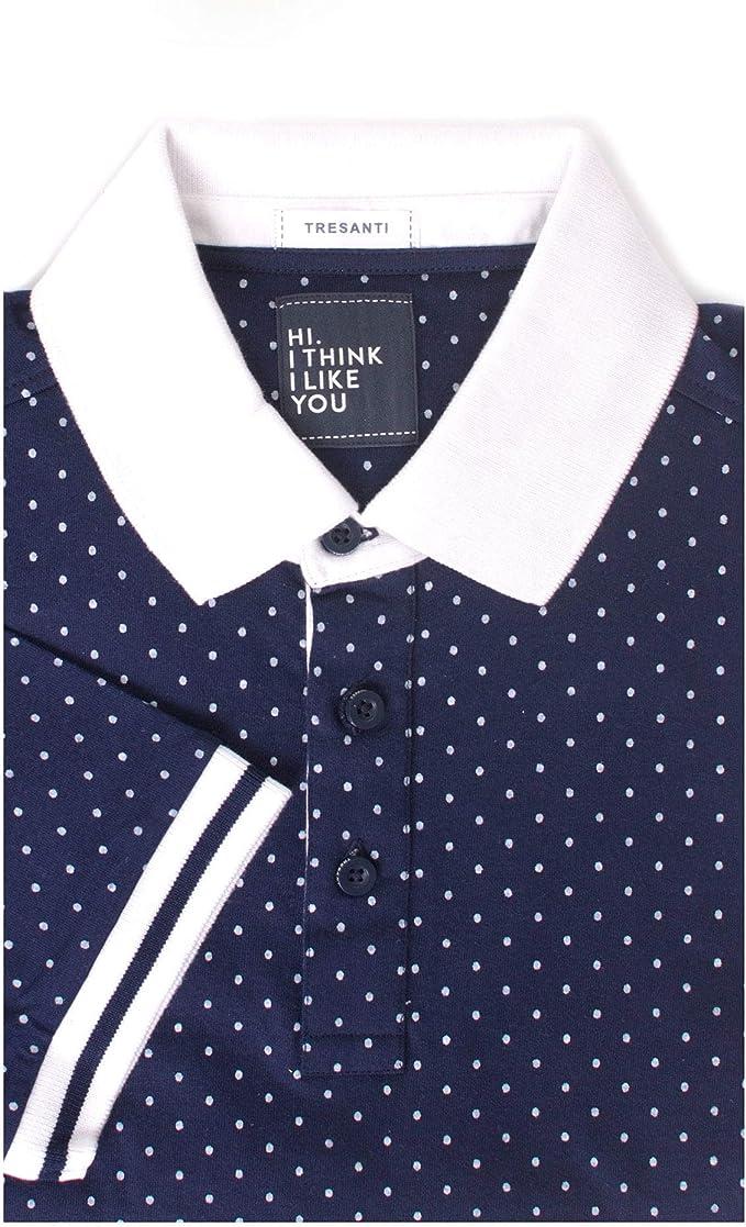 Tresanti Polka Dot Print Mens Cotton Short Sleeve Polo Shirt Navy 2XLarge