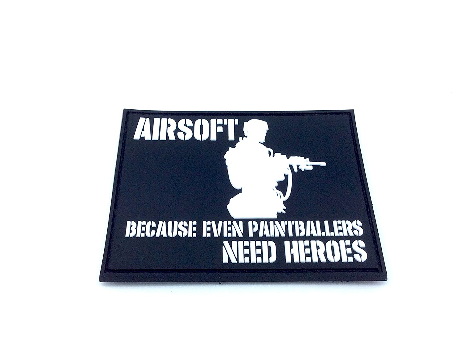 Airsoft Because Even Paintballers Need Heroes Blanco Velcro PVC Parche Patch Nation