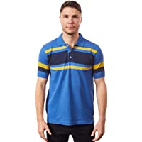 Tipsy Koala Men's Striped Blue & Yellow Slim Fit Polo