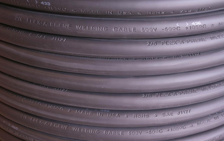 Black Flex-A-Prene 600 V 25 FEET Made in USA #2 Gauge AWG Welding//Battery Cable