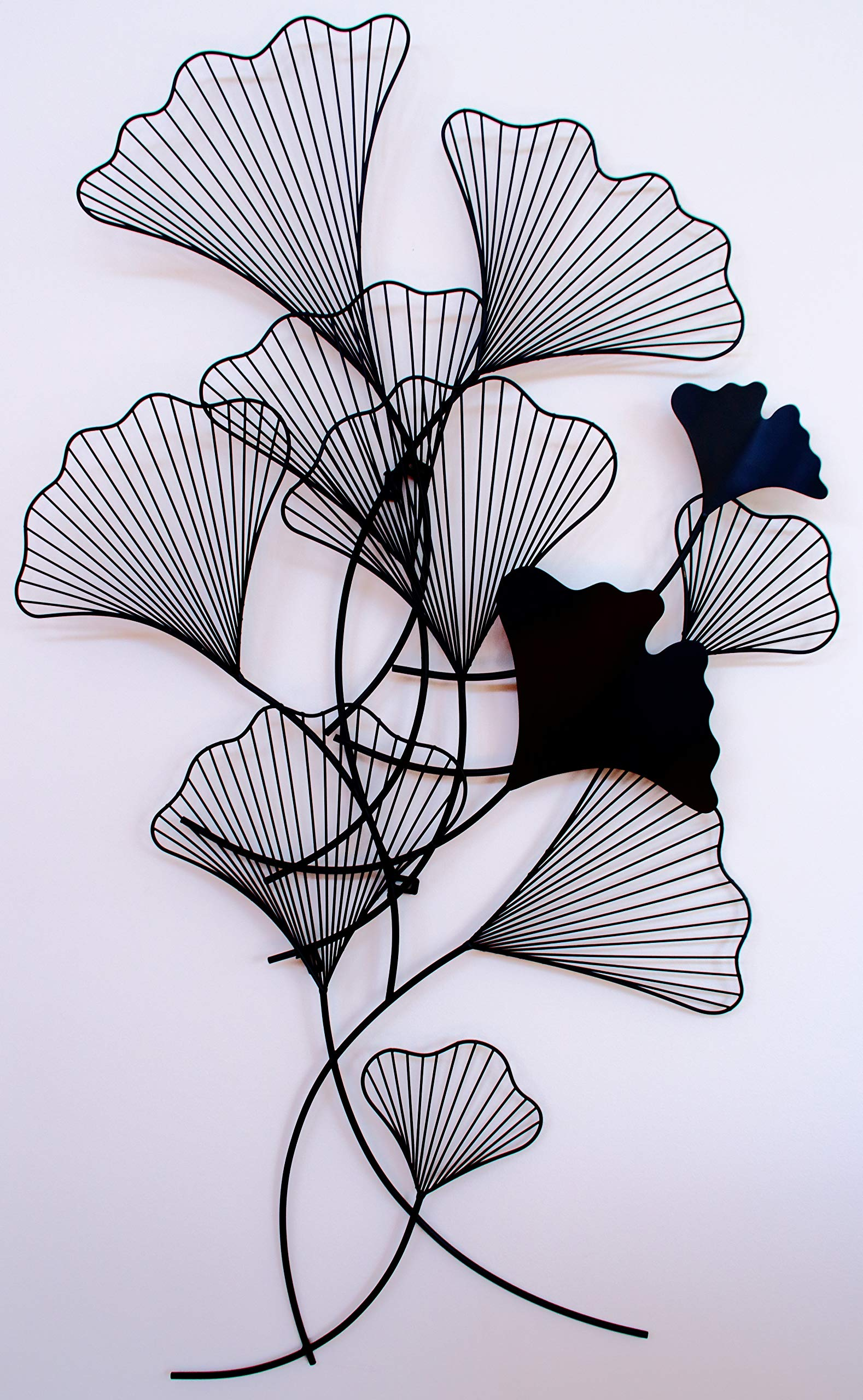 Chermoir Gingko Leaf Metal Wall Art Matte Black 55 x 31.5 x 2 inches - Ready to Hang by Chermoir