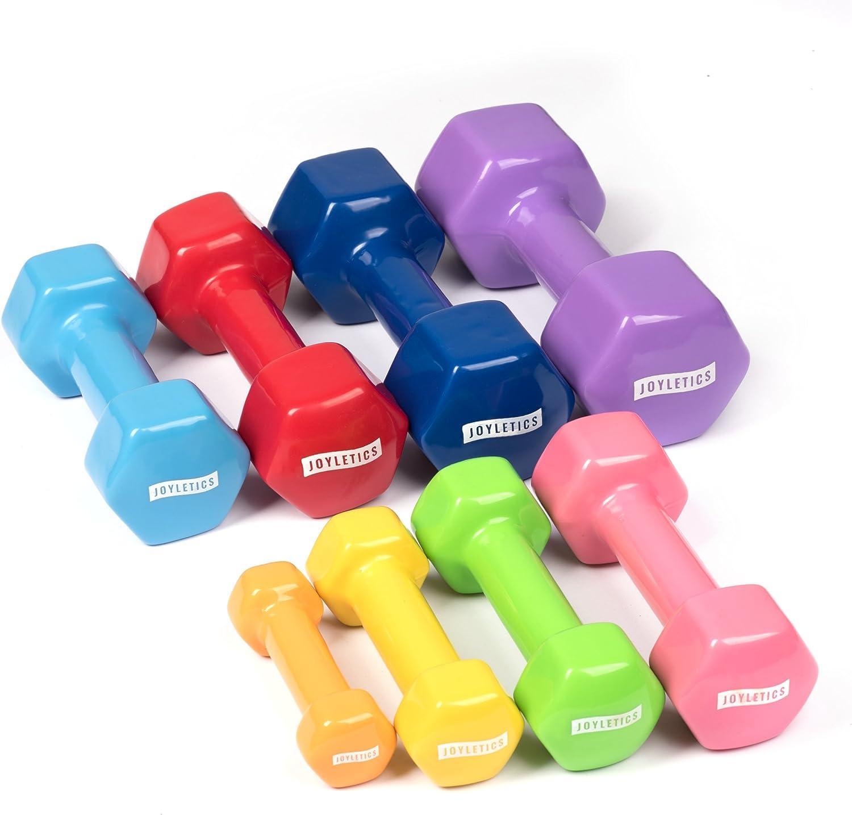 Verschiedene Gewichte und Farben 3kg 4kg 2,5kg Joyletics Kurzhantel-Set /»Shiny/« mit Vinyl/überzug 0,5kg 2 Hanteln sechseckig rutschfest und bodenschonend 1kg e-Book 5kg 2kg 1,5kg