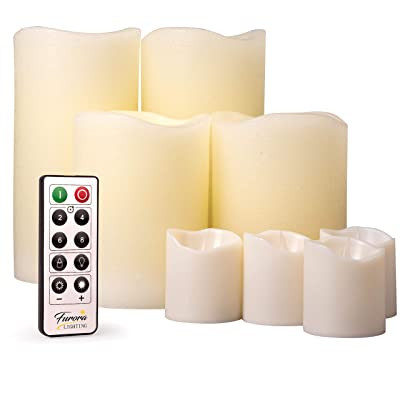 Furora LIGHTING LED Flameless Candles with Remote Control, Set of 8, Real Wax Battery Operated Pillars and Votives LED Candles with Flickering Flame and Timer Featured - Ivory: Home Improvement