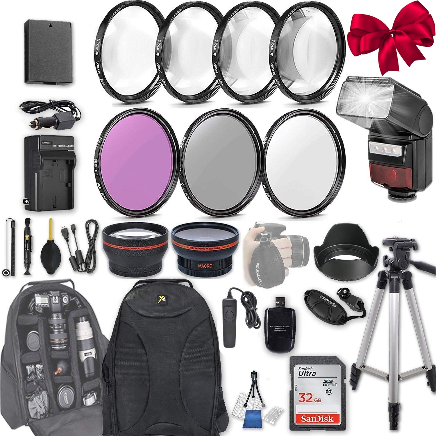 58mm 28 Pc Accessory Kit for Canon EOS Rebel T6, T5, T3, 1300D, 1200D, 1100D DSLRs with 0.43x Wide Angle Lens, 2.2x Telephoto Lens, LED-Flash, 32GB SD, Filter & Macro Kits, Backpack Case, and More by Canon