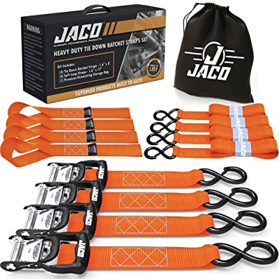 "JACO Ratchet Tie Down Straps (Heavy Duty Set) - 1.6"" x 8 ft 