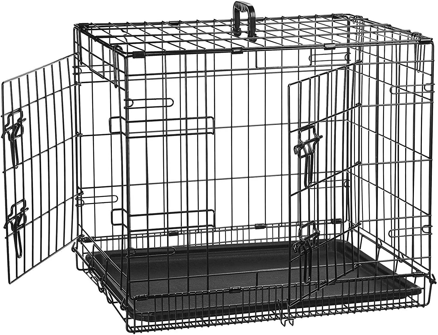 AmazonBasics - Jaula plegable de metal para mascota (dos puertas, 61 cm largo)