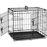 AmazonBasics Double Door Folding Metal Cage Crate For Dog or Puppy - 24 x 18 x 20 Inches
