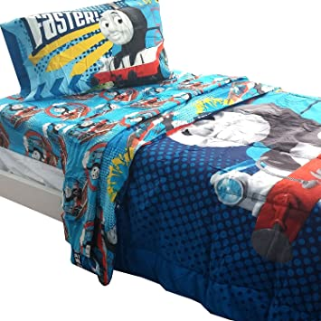 5pc Thomas the Train Full Bedding Set Go Faster Tank Engine Comforter and  Sheet Set. Amazon com  5pc Thomas the Train Full Bedding Set Go Faster Tank