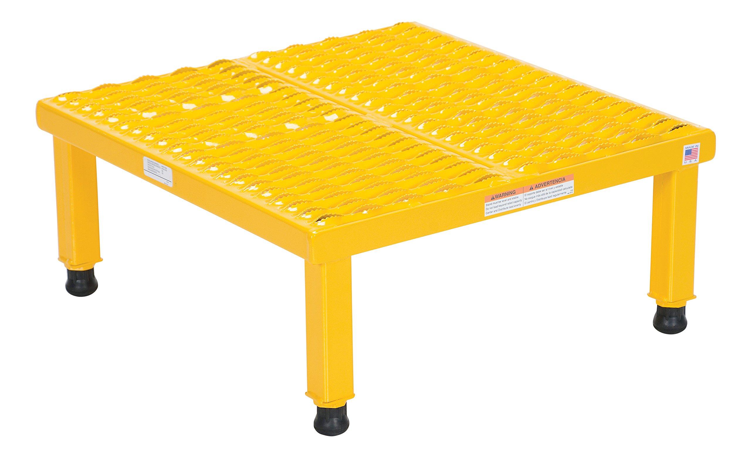 Vestil AHW-H-2424 Adjustable Work-Mate Stand with Serrated Deck, Steel, 24'' Length x 24'' Width Deck, 500 lbs Capacity, 9'' - 14'' Height Range