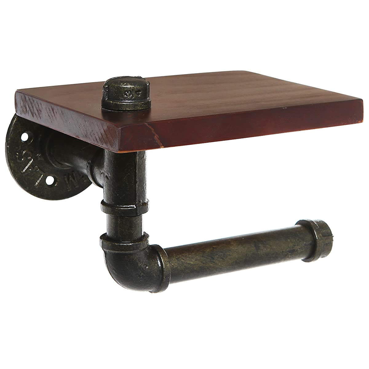 Rustic Style Pipe Design Brown Wood & Black Metal Wall Mounted Bathroom Shelf / Toilet Paper Roll Holder