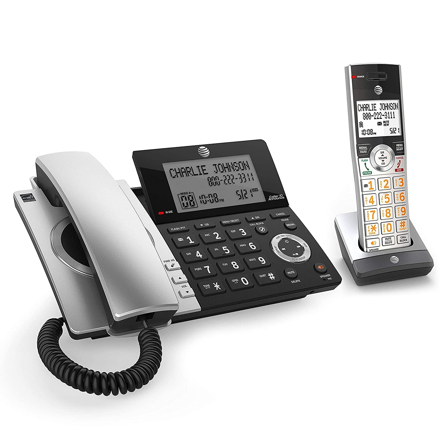 AT&T CL84107 DECT 6.0 Expandable Corded/Cordless Phone with Smart Call Blocker, Black/Silver with 1 Handset (Renewed)