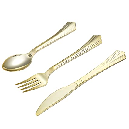 Tbwisher Gold Plastic Silverware, 400 pcs Party Supplies Plastic Flatware, Disposable Plastic Cutlery