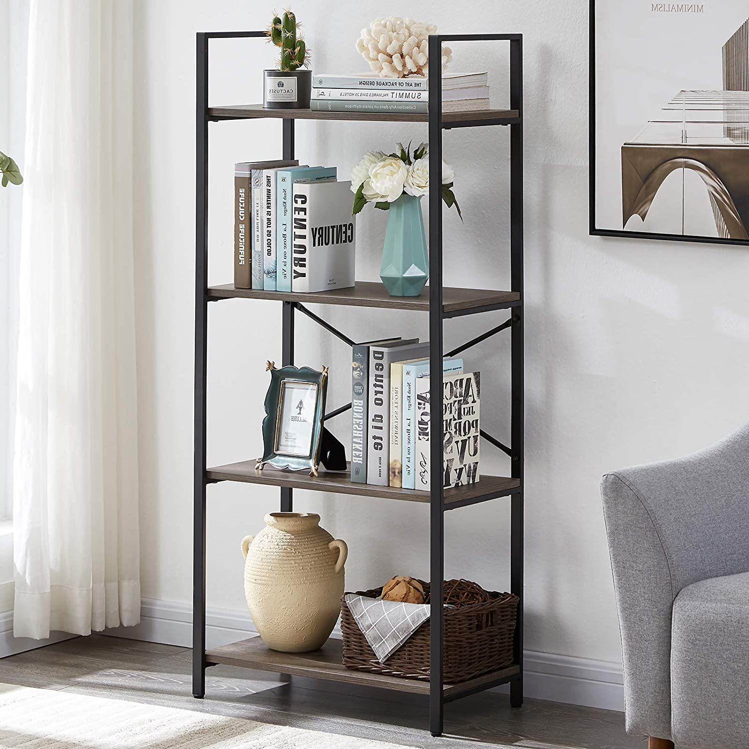 OIAHOMY Industrial Bookshelf, 4-Tier Bookcase and Bookshelves, Vintage Bookshelf with Metal Frame, Rustic Organizer Shelving Unit, Multipurpose Storage Display Rack for Home and Office - Oak Grey