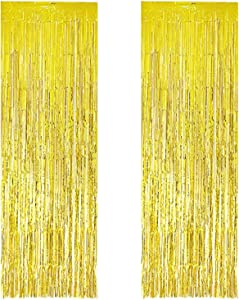 Foil Fringe Curtains Metallic Tinsel Gold Fringe Curtain Photo Booth Backdrop Curtains Decoration for Christmas New Years Eve Birthday Wedding Bachelorette Party Tassel Decor 2 Pack 3.3ft x 9.8ft