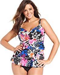 59f727b55b Swim Solutions Women's Plus Size Printed Tiered One-Piece Swimsuit