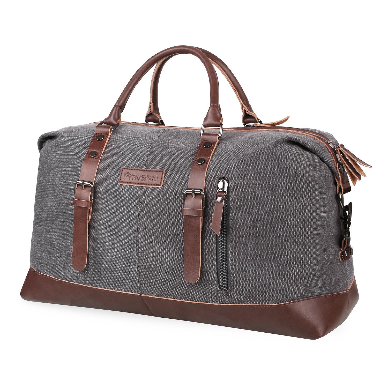PRASACCO Canvas Tote Bag Leather Oversized Travel Duffel Bags Unisex Large Weekend Overnight Shoulder HandBag for Women Men, Gray PRS006