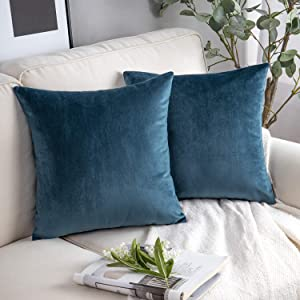 Phantoscope Pack of 2 Velvet Decorative Throw Pillow Covers Soft Solid Square Cushion Case for Couch Dark Blue 20 x 20 inches 50 x 50 cm