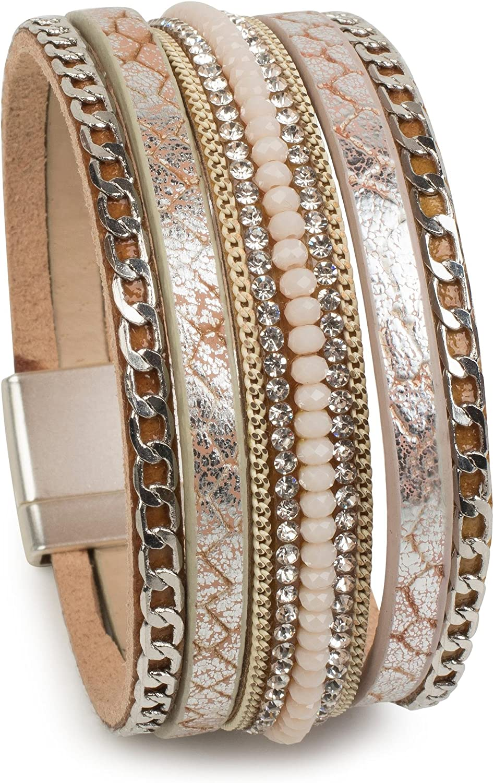 styleBREAKER Pulsera Suave con Piedras de estrás, Estampado de Serpiente Vintage y Cadena, Cierre magnético, señora 05040020
