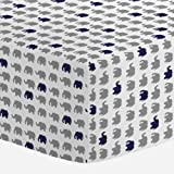 Carousel Designs Cloud Gray and Navy Elephant Parade Crib Sheet - Organic 100% Cotton Fitted Crib Sheet - Made in the USA