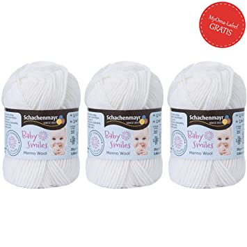 Schachenmayr babysmiles   babysmiles laine mérinos Blanc (FB 1001)   bébé  coton avec gratuit 4706cff337a