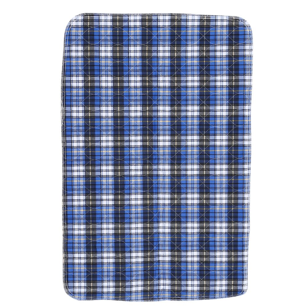 Blue Plaid 3-layer Structure Thickened Waterproof Design Washable Bed Pads Incontinence Urine Elder Mat Reusable Absorbent Pad Protector for Children Adults